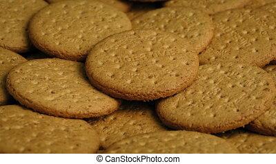 Plate Of Plain Cookies - Rotating shot of many plain...