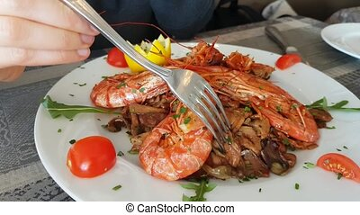 Plate of Prawns in the Restaurant