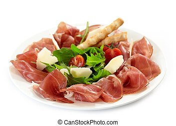 Plate of prosciutto and parmesan