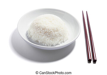 Plate of Rice and Chopsticks