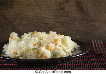 Plate of rice with vegetables
