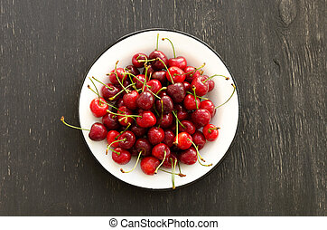 Plate of ripe cherries