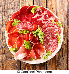 plate of salami, bacon, speck