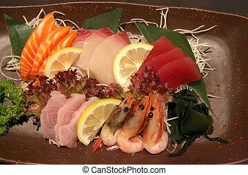 Plate of sashimi - Arrangement of sashimi sliced raw ...
