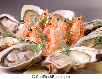 plate of seafood - shrimp and oyster
