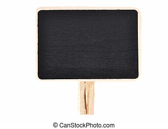 Plate of slate for writing with wooden base on white