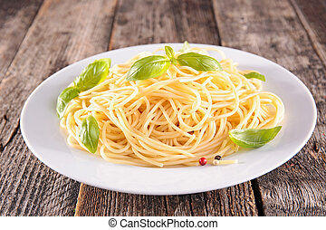 plate of spaghetti and basil