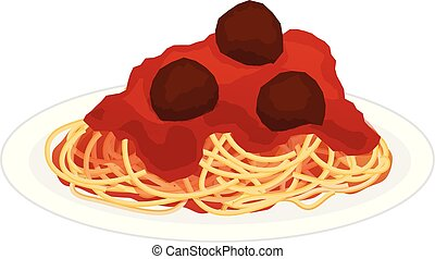 Plate of Spaghetti with Meatballs - Spaghetti, pasta sauce,...