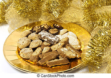 plate of sweets and Christmas decorations