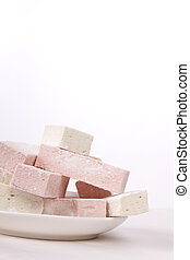 Plate of sweets - Plate full of sweet white and pink ...