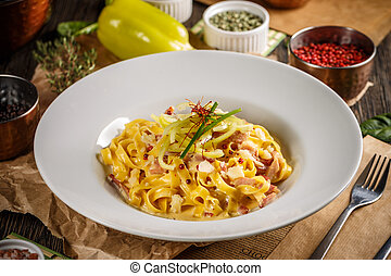 Plate of tagliatelle carbonara