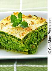 Plate of vegeterian lasagna - Serving of fresh baked ...