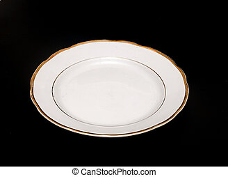 Plate on black background