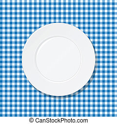Plate on blue tablecloth - White plate on blue tablecloth