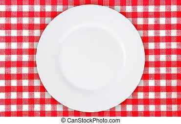 plate on red checkered tablecloth