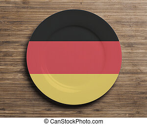 Plate on table with Germany flag
