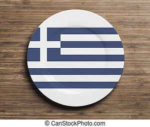 Plate on table with Greece flag