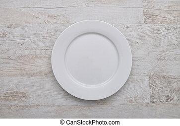 Plate on wood