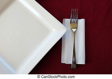 Plate Red Table Cloth Fork Napkin Setting