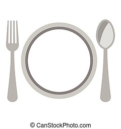 Plate spoon and fork icon, flat style
