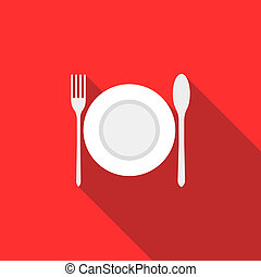 Plate, spoon and fork icon, flat style