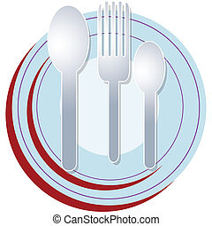 plate spoon fork - a set of plate and spoons with fork ready...