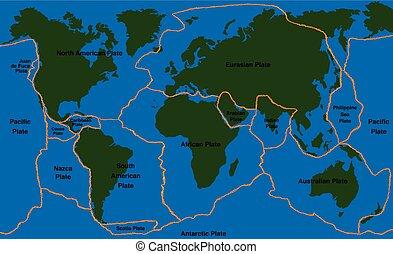 Plate Tectonics World Map Faultline