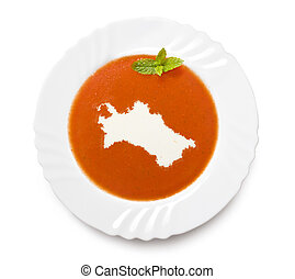 Plate tomato soup with cream in the shape of Turkmenistan.(series)
