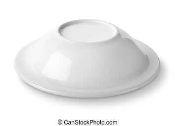 Plate upside down isolated on a white background