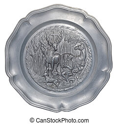 plate with a bas-relief of the hunters