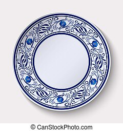 Plate with a wide floral design border in the style of Gzhel with an empty space in the center.