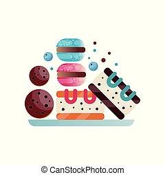 Plate with appetizing desserts: chocolate cookies, macaroons and pieces of cake. Sweet and tasty food. Flat vector design for poster or flyer