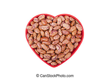 Plate with beans isolated on white background.