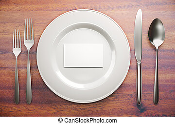 Plate with business card top