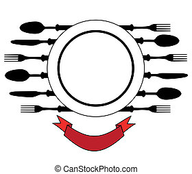Plate with cutlery, Design place setting with knives, plate, spoons vector illustration.