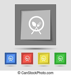 plate with cutlery icon sign on original five colored buttons. Vector