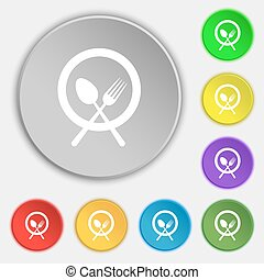 plate with cutlery icon sign. Symbol on eight flat buttons. Vector