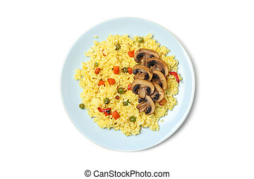 Plate with delicious rice and mushrooms isolated on white background