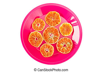 Plate with dried orange slices