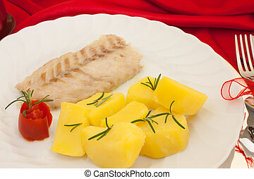 Plate With Fish And Potatoes