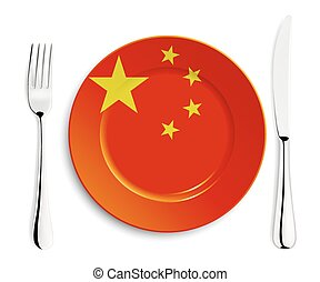 Plate with flag of China