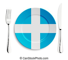 Plate with flag of Greece