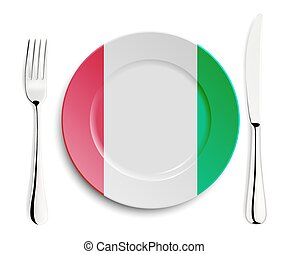 Plate with flag of Italy