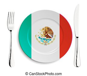 Plate with flag of Mexico
