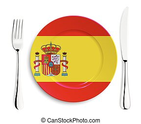 Plate with flag of Spain
