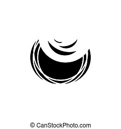 Plate with food. Digital art. Black vector illustration on white background.