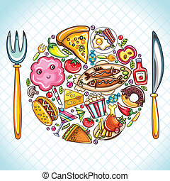 Plate with food - Beautiful illustration featuring colorful...