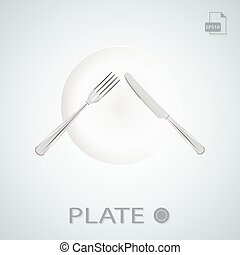 Plate With Fork And Knife Crossed Isolated On A Background. Vector Illustration.