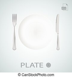 Plate With Fork And Knife Isolated On A Background. Vector Illustration.