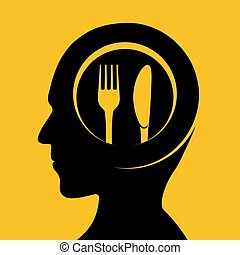 Plate with fork and knife on the background of a human head